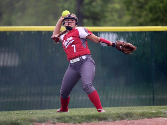 Piketon's Breanna Eick makes a throw from the outfield grass against Wheelersburg Wednesday in a Division III regional semifinal in Lancaster.