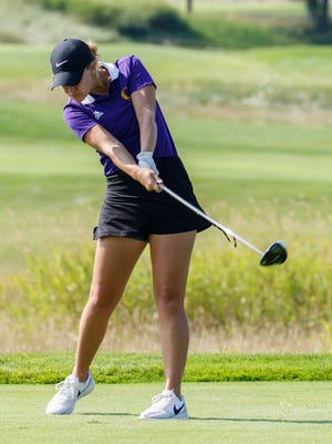 Oconomowoc's Madison LaPaz drives off tee No. 9 during the 2017 Hartford Invitational at Washington County Golf Course on Thursday, August 10.