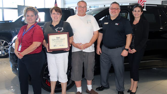 Lori Hirsch, left, Gail Wininger, David Long, Dyer Chevrolet's Jonathan Holmes and Tatiana Dyer.