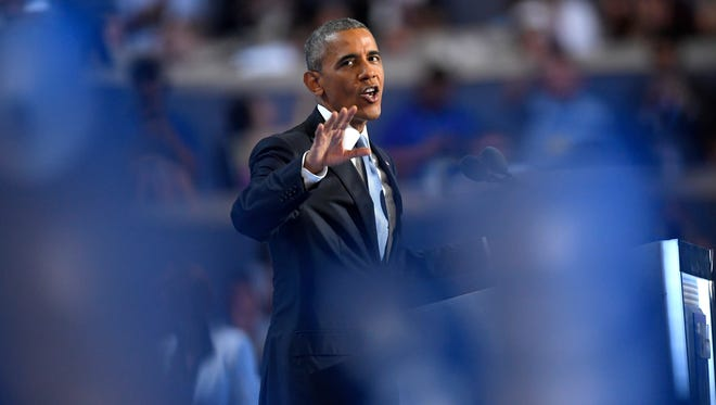 President Barack Obama speaks July 27, 2016, during the third day of the Democratic National Convention in Philadelphia.