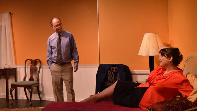 "Sam and Karen Nash (Mike Herrin, Marnie Earl) revisit the site of their honeymoon in Act I of ""Plaza Suite"""
