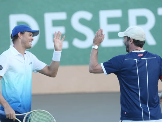 Professional tennis player Bob Bryan congratulates