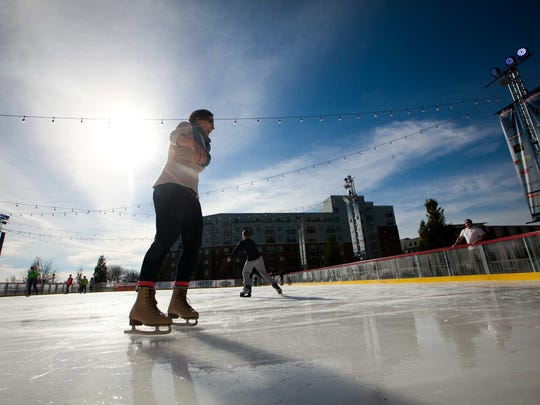 fThe Riverfront Rink opens today with families enjoying a sunny day of ice skating.