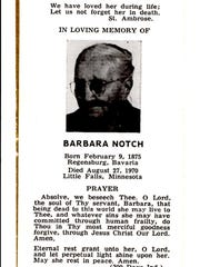 A prayer card for Barbara Notch, who married a descendant