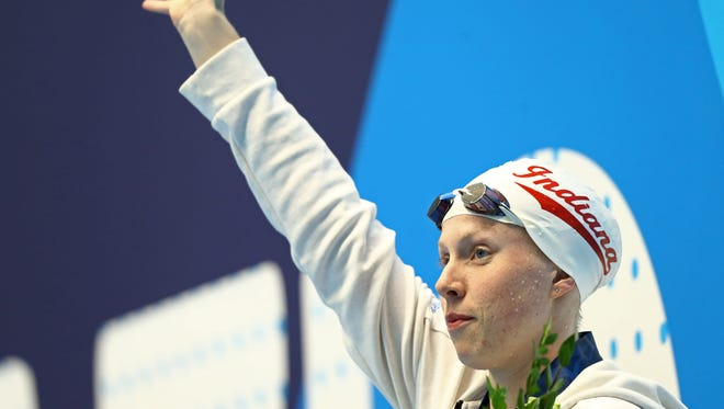Jun 29, 2017; Indianapolis, IN, USA; Lilly King reacts after winning the womens 50m breaststroke during the 2017 USA Swimming Phillips 66 National Championships at Indiana University Natatorium.