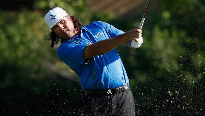 Pat Perez plays his shot from the 17th fairway during the final round Sunday of the OHL Classic.