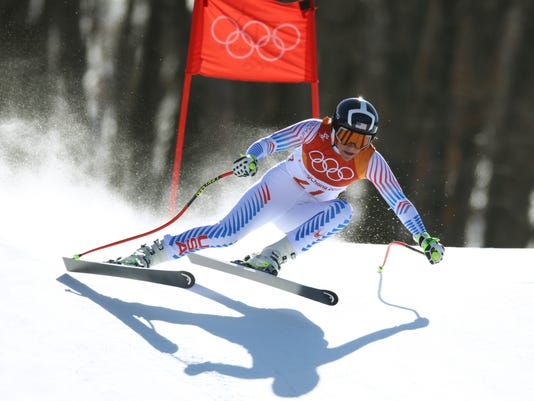 United States' Alice Mckennis competes in the women's super-G at the 2018 Winter Olympics in Jeongseon, South Korea, Saturday, Feb. 17, 2018. (AP Photo/Alessandro Trovati)