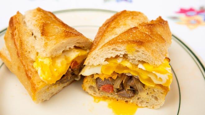 A steak 'n' egg baguette is one sandwich idea for breakfast.