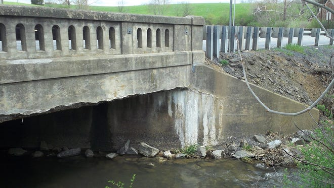 The U.S. 522 bridge three-fourths mile north of Needmore is to be replaced this year as part of the state's billion-dollar bridge project.