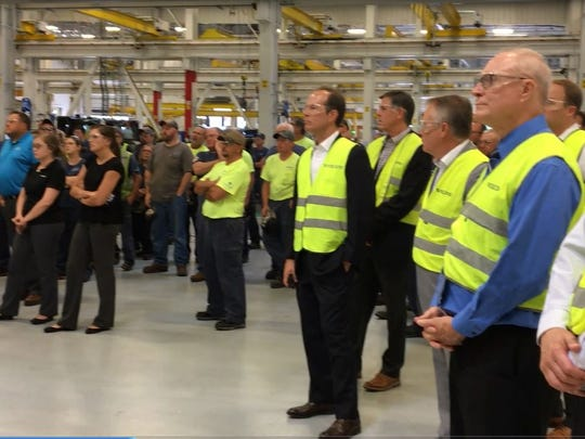 Franklin County commissioners Robert Thomas and Robert Ziobrowski were among the visitors who stood with Volvo employees during Sen. Bob Casey's visit to the plant on Aug. 23, 2017.