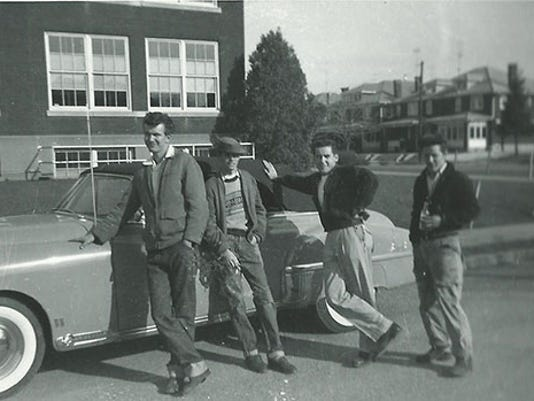 Gary Heiland shared this photo taken in 1953 or 1954 of himself, second from right, with, from left, Robert Haller, Joseph Newhouse and Jack Danley. The group is standing in front of Bob Haller's 1949 Oldsmobile 88 convertible, and in the background is the west side of West York High School.