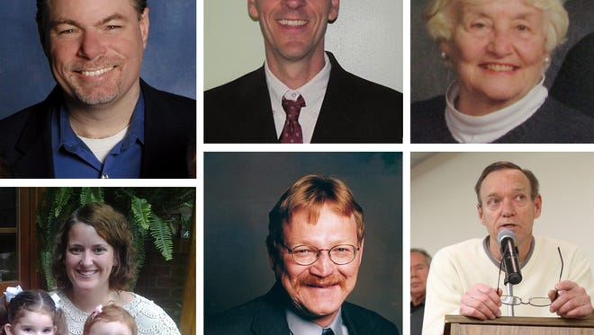 Candidates for Brighton Township Trustees (clockwise from top left) include Sam Theis, Steven Combs, Lucille Weaire, Mike Palmer, Mike Slaton and Anna Chatten.
