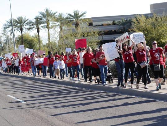Teachers protest Ducey