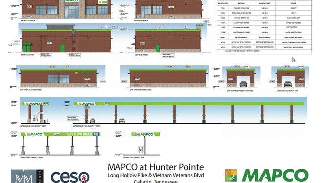 The proposed Mapco gas station and car wash facility at the intersection of Long Hollow Pike and Vietnam Veterans Blvd.