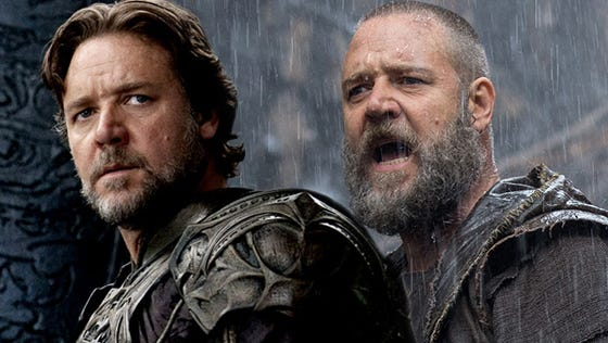 In the span of a year at the box office, Russell Crowe plays Jor-El, the father of Superman, and Noah. The roles share some similarities.