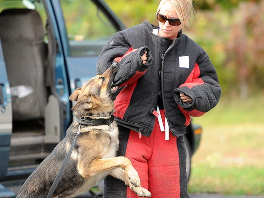 Officer Christine Waystedt of West Allis Police Department wears a bite suit to act the bad guy for police K9 training October 6, 2015 at a former packing plant on E. University Ave. The Brown County SheriffÕs Department, Ashwaubenon Public Safety and Green Bay Police Department K9 units are hosting the annual Wisconsin Law Enforcement Canine Handler AssociationÕs conference with about 115 K9 teams from throughout Wisconsin  gathered for four days of training.