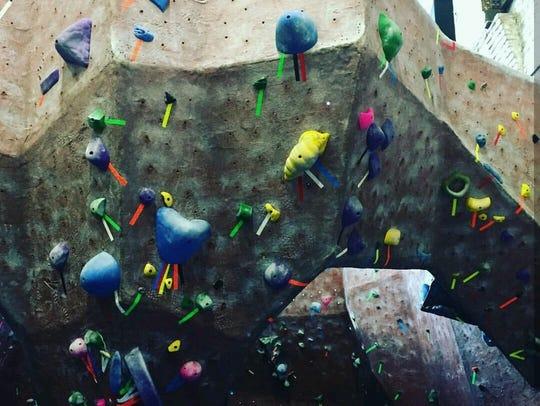 The bouldering wall at Rockville Climbing Center.