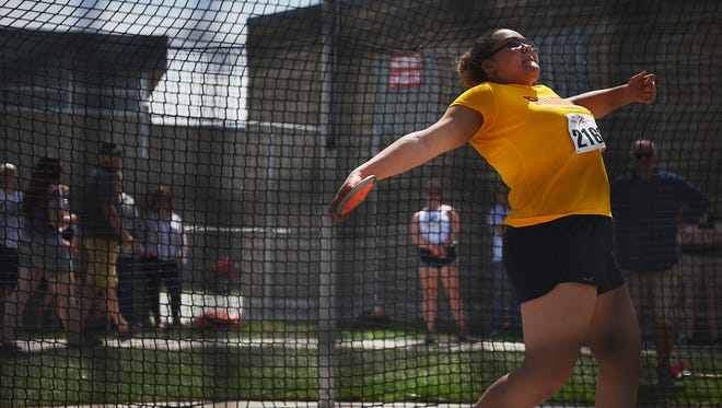 Roosevelt's Jasmine Greer participates in the girls discus, Saturday, May 5, during the Dakota Relays at Howard Wood Field in Sioux Falls.