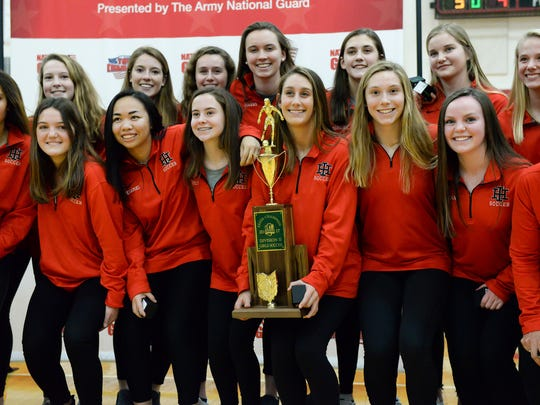 Indian Hill girls soccer team were honored at halftime for their OHSAA State Championship at Indian Hill High School, Friday Feb. 9, 2018