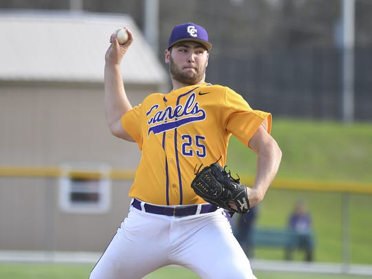 Austin Hoeh (25) of the Campbell County throws a pitch against the Bluebirds at Campbell County High School, Thursday, April 26, 2018