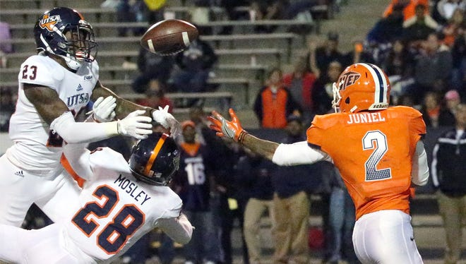 UTEP wide receiver Terry Juniel was not able to catch this long pass in the 4th quarter against UTSA Saturday night.