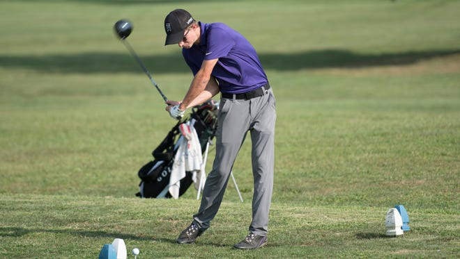 Unioto's Jacob Calvin tees off on #12 on Tuesday, August 15,2017, at SVC #1 at Dogwood Hills Golf Course. The Shermans outlasted Piketon to win a conference title this season.