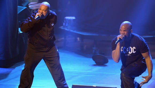 Joseph (Run) Simmons, left, and Darryl (D.M.C.) McDaniels of Run-D.M.C. perform onstage during DirecTV Super Saturday Night co-hosted by Mark Cuban's AXS TV at Pier 70 on Feb. 6, 2016, in San Francisco, Calif.