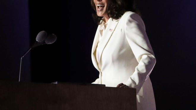 Vice President-elect Kamala Harris delivers remarks in a victory celebration Saturday.