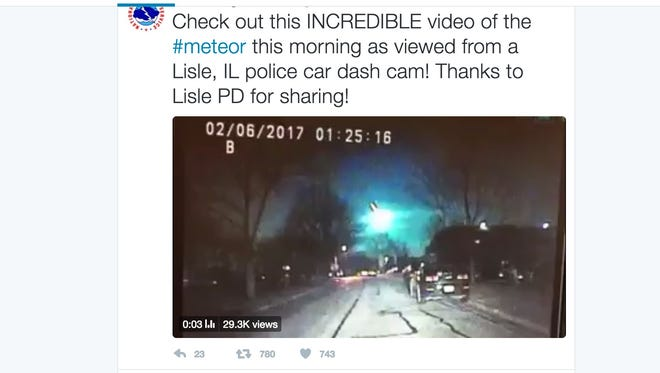 A police dashcam captured jaw-dropping footage of what appears to be a meteor streaking across the sky in Illinois.