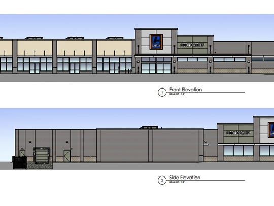 A rendering shows the planned Aldi building in Madison.