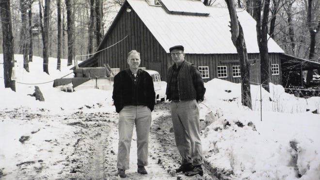 Dr. James Marvin, co-founder of the Proctor Maple Research Farm (now Center), and Fred Laing, whose work helped establish the feasibility of using plastic tubing, outside the sugarhouse in the 1940s.