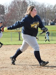 Wayne's Lauren Bargo forces a runner out at the plate.