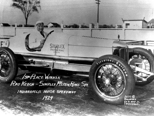 Ray Keech is seated in the No. 2 Miller Simplex Piston Ring Special. Keech, who started sixth, won his only Indianapolis 500 in 1929 with a time of 5 hours, 7 minutes and 25.42 seconds and an average race speed of 97.585 mph.
