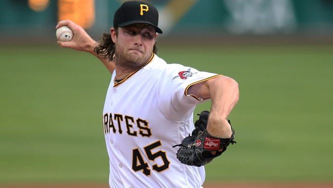 Jun 10, 2016; Pittsburgh, PA, USA; Pittsburgh Pirates starting pitcher Gerrit Cole (45) delivers a pitch against the St. Louis Cardinals during the first inning at PNC Park. Mandatory Credit: Charles LeClaire-USA TODAY Sports
