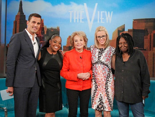 """This undated photo released by ABC shows, from left, Bill Rancic, Sherri Shepherd, Barbara Walters, Jenny McCarthy, and Whoopi Goldberg, on """"The View,"""" which airs Monday-Friday (11:00 am-12:00 pm, ET) on the ABC Television Network.  Shepherd says she's leaving ABC's daytime talk show """"The View"""" after seven years. In a statement Thursday, June 26, 2014, Shepherd says that after """"careful consideration"""" she has decided it's time to move on.  (AP Photo/ABC, Lou Rocco)"""