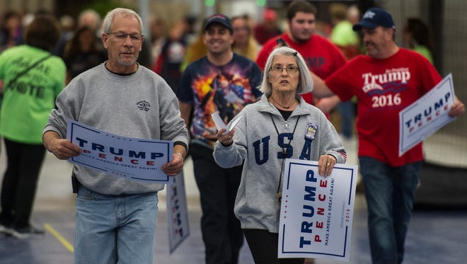 Brian Burke, mayor of Cleona Borough, and his wife, Ellen a Cleona Borough councilwoman, at a Donald Trump campaign rally in Lancaster Oct. 2016. Brian Burke recently announced that he is stepping down from his position as mayor for personal reasons.