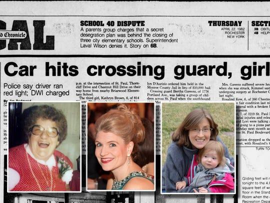 In 1982, crossing guard Bertha Gawens, left,  stepped
