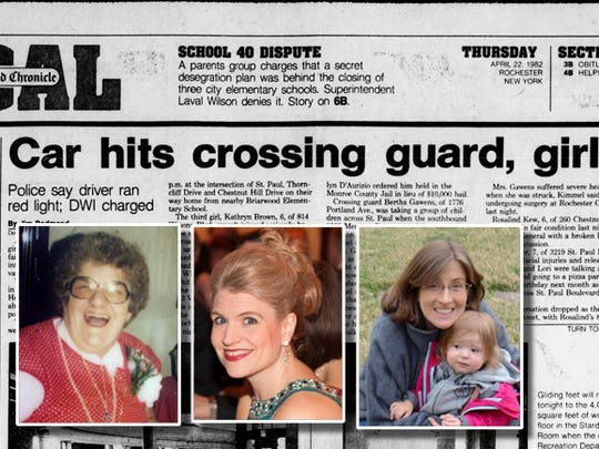 In 1982, crossing guard Bertha Gawens, left,  stepped