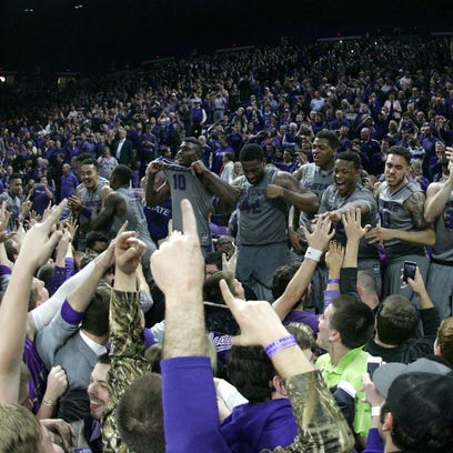 Kansas State players and fans celebrate their victory