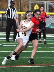 Cedar Grove's Jessica Green (14) advances towards the goal.