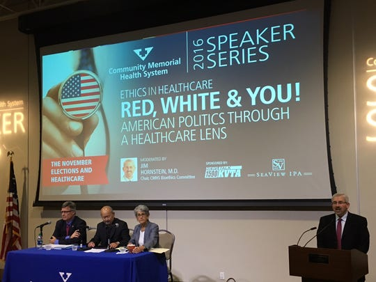 Panelists talked about health care and politics in a Ventura program Wednesday night.
