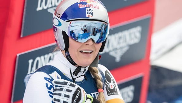 Lindsey Vonn reacts in the finish area during the women's