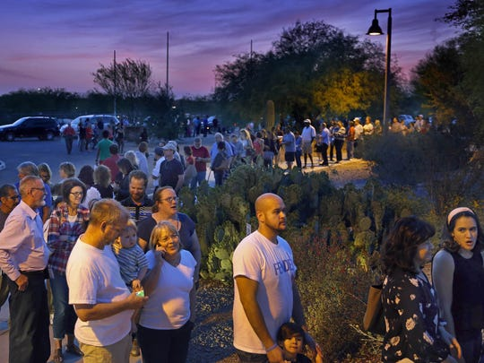 People were still in line to vote when the polls closed