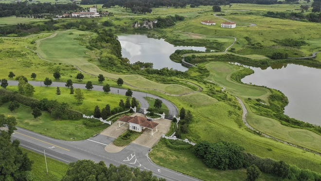 Adena Golf and Country Club is shown in this recent photo. Frank Stonach recently settled a bitter legal fight with his daughter, Belinda, for control of the family empire. As part of the settlement, Frank Stronach retains the golf course, a thoroughbred horse farm and the vast cattle operation in Marion County.