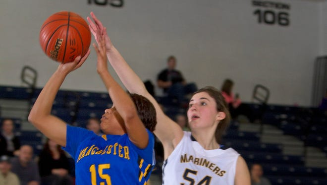 Manchester vs Toms River North in SCT Girls Basketball in Toms River on  February, 18, 2015.  Peter Ackerman/Staff Photographer