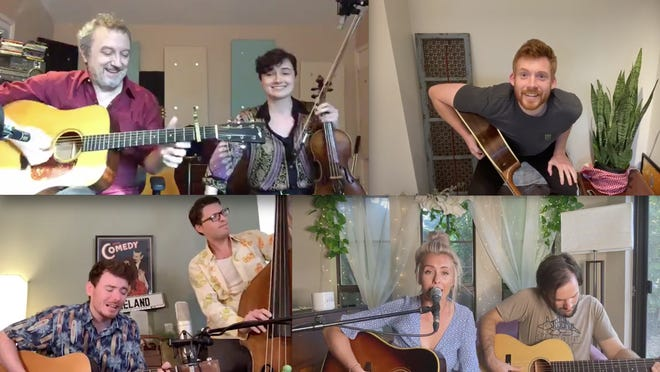 "Ulla's weekly ""tag-team livestreams"" on Sunday are our Austin360 Residency of the Month for May. Participants are, clockwise from top left, Rich & Maddy Brotherton, Pat Bryne, Stephen Carolan & Kris Wade, and Andrea Magee & Dave Scher."