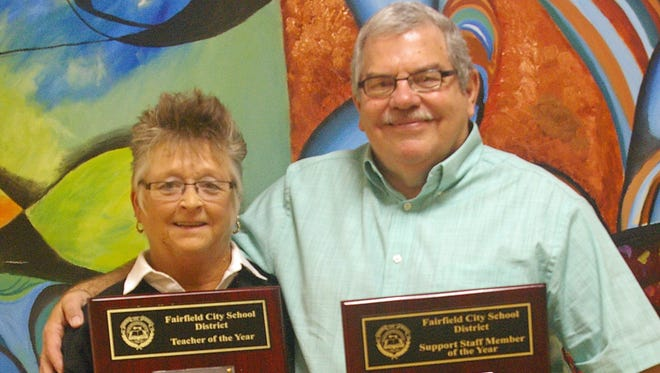 Beth Baltzell, left, and Jeff Stegman, were named the Fairifield City School's Teacher of the Year and Support Staff Member of the Year, respectively.
