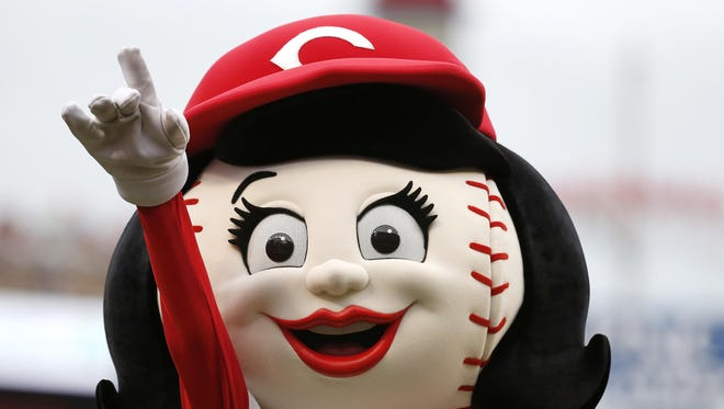 Rosie Red entertains the crowd prior to a game between the Cincinnati Reds and the San Francisco Giants.
