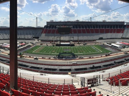 The view from Row 12 of the Allison Terrace at Bristol Motor Speedway.