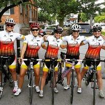 Members of the inaugural CycleweRx Racing Team, from left: Cheryl Taylor, Janine Thompson, Andi Balland, Rachel Pikus, Danielle Ohlson, Kelly Dietrick and Marj Rinaldo.